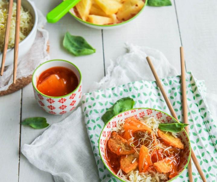 Tempeh zoetzure ananas saus {Vegan – glutenvrij}