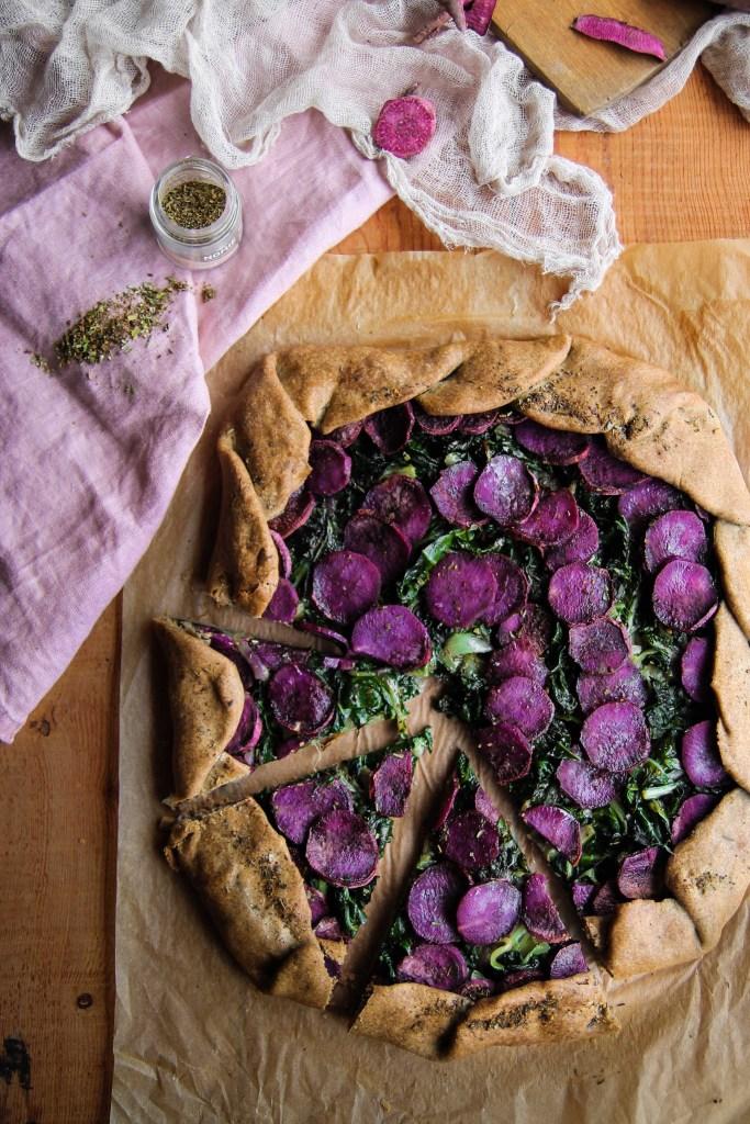 Tarte rustique patate douce et blettes {Vegan – glutenvrij}