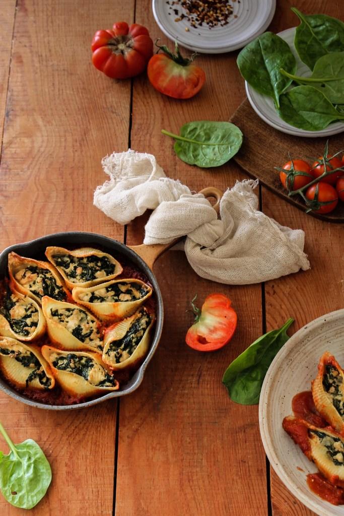 Conchiglionis farcis tofu épinards vegan
