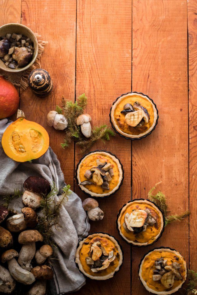 Tartelettes potimarron et cèpes {sans lait}