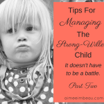 Tips for Managing the Strong-Willed Child: It Doesn't Have to be a Battle Part Two
