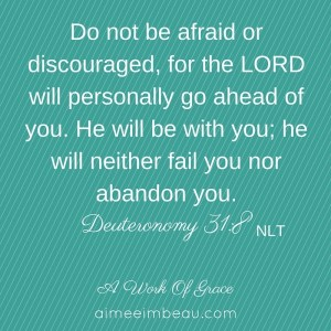 Do not be afraid or discouraged, for the LORD will personally go ahead of you. He will be with you; he will neither fail you nor abandon you.-