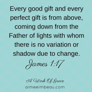 Every good gift and every perfect gift is from above, coming down from the Father of lights with whom there is no variation or shadow due to change.