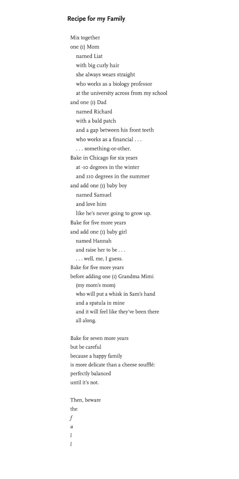 """RECIPE FOR DISASTER excerpt poem, """"Recipe for my Family"""""""