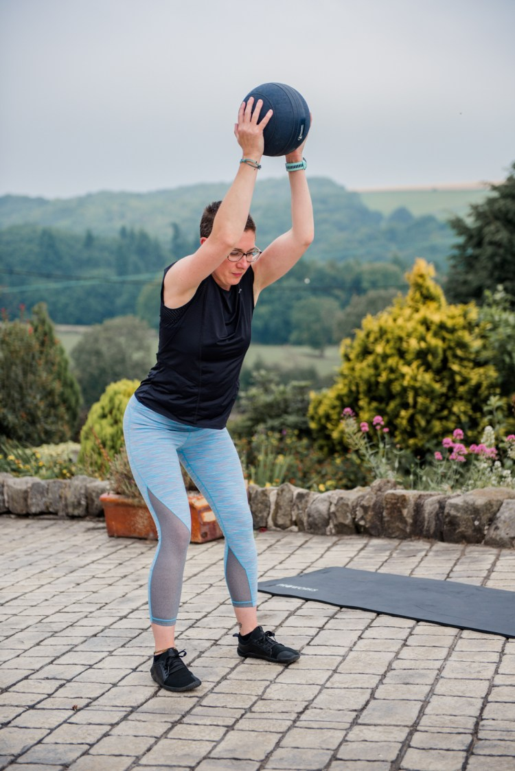 Aimee Pearce fitness training with a medicaine ball in Sheffield
