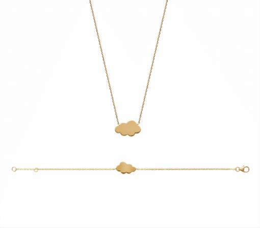 Collier cloud plaqué or 18 carats 3 microns, nuage Aimée Private Collection tendance influenceuse bijoux fantaisie mode