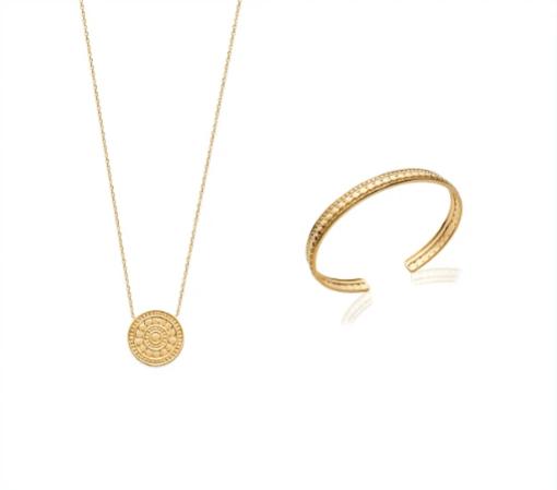 Collier Cliff en plaqué or 18 carats 3 microns aimée private collection avec un médaillon orné de jolis détails, tendance mode