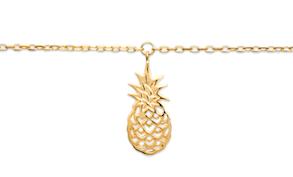 Chaine de cheville Ananas plaqué or 18k 3 microns ananas Aimée Private Collection nouveau modèle influenceuse tendance élégance belle bague