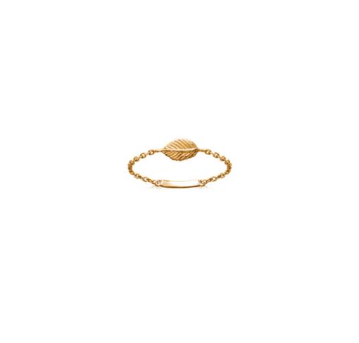 Bague Peach plaqué or 18K 3 microns chaine et feuille Aimée Private Collection nouveau modèle influenceuse tendance