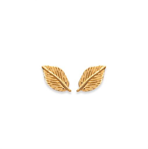 Boucles d'oreilles Wood plaqué or 18K 3 microns Feuille Aimée Private Collection nouveau tendance influenceuse mode top