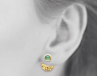Boucles d'oreilles Dune plaqué or 18k pierre Venturine Aimée Private Collection nouveau tendance influenceuse