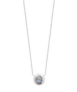 Collier Luna en argent 925 rhodié avec une pierre labradorite Aimée Private Collection élégant et raffiné tendance mode