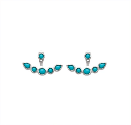 boucles d'oreilles Igloo en argent 925 rhodié et turquoises Aimée Private Collection nouveau modèle