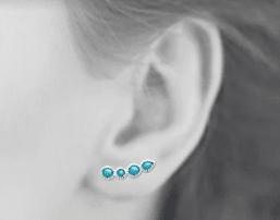 Boucles d'oreilles Lagoon en argent 925 rhodié et turquoises Aimée Private Collection nouveau modèle