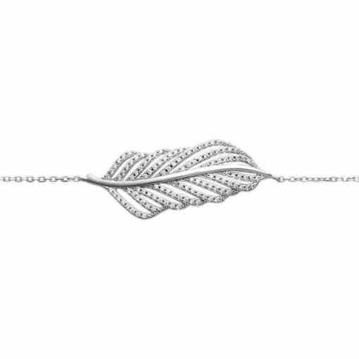 Bracelet Daisy en argent 925 Rhodié et feuille serti de brillants Aimée Private Collection tendance influenceuse favoris