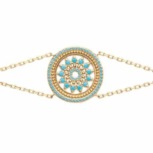 Bracelet Sam plaqué or et serti de turquoises Aimée Private Collection tendance influenceuse mode