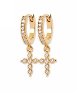 boucles d'oreilles jade croix diamant paris plaque or