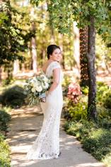 Bride on garden path