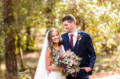 Portrait of Bride & Groom with Bouquet