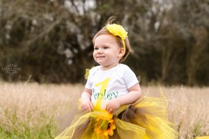 girl with blonde hair in yellow tutu sits in field- macon photographer