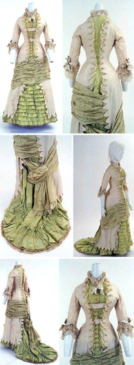 Dress, French, ca. 1880s. Princess-line, one piece.