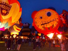 Interesting shaped hot air balloon: Tic Tock Father Time Balloon Glow