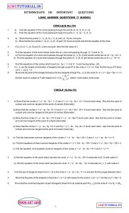 Maths IIB IMPORTANT QUESTIONS - Aims Tutorial (10+2)