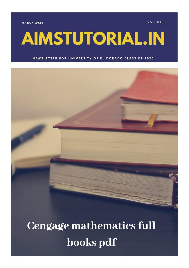 CENGAGE MATHEMATICS FULL BOOKS PDF