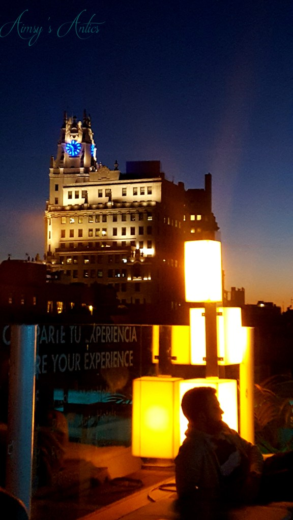 Oscar's roof top terrace Madrid, night time view