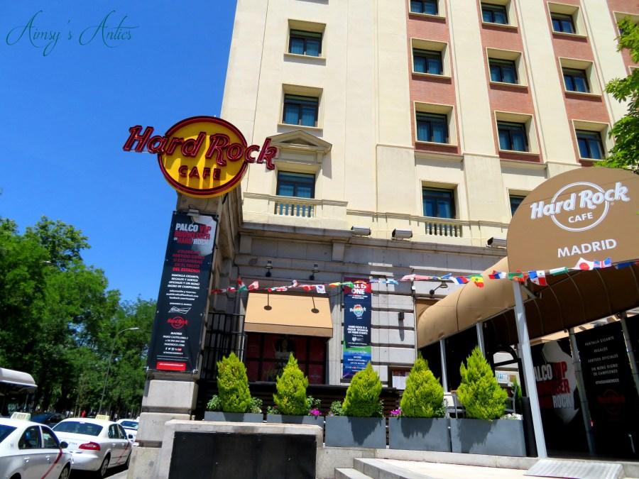 Outside of Hard Rock Cafe in Madrid