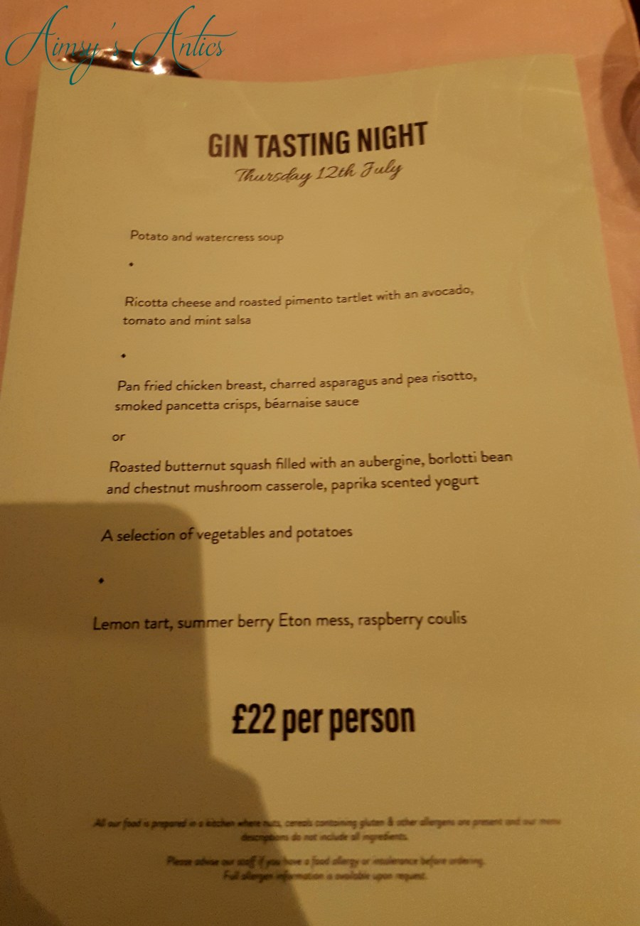 Written menu of the gin tasting event