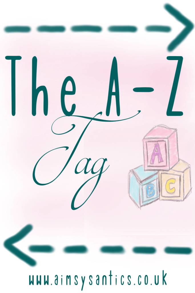 "Image of hand drawn alphabet blocks with the image overlay ""The A-Z Tag"""