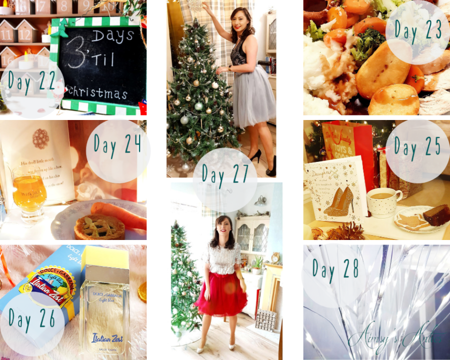 "Image of various images. These include a Christmas Countdown chalkboard with ""£ days 'till Christmas"" written on, a Christmas dinner on a plate, a mince pie with a carrot on a plate and a shot of Whiskey, a cup of coffee with a gingerbread and Christmas card with gifts and tree in the background. An image of Dolce & Gabbana Italian Zest scent, white Christmas tree light branches and two photos of a woman in two types of tulle skirts, one wine colour and one grey colour, both with Christmas trees in background."