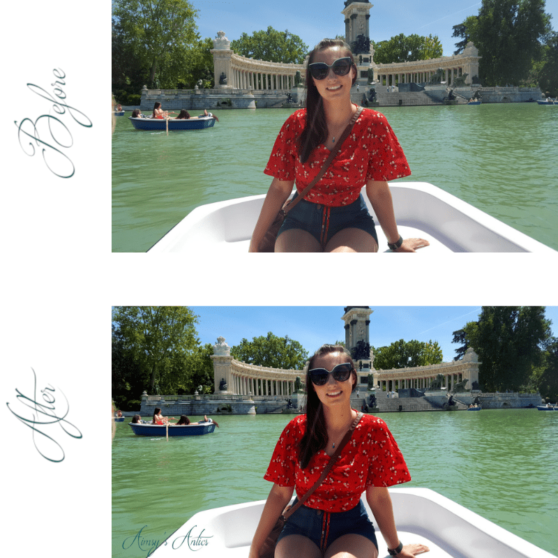 Image of before and after shots of a photo of a girl sitting in a boat on Retiro Park lake.