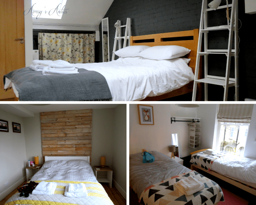 Grid of 3 images; 1. of a double bed in an attic room, 2 of a double bed with wooden headboard and 3 of two twin beds. All in the Fernleigh cottage at Grange-over-Sands.