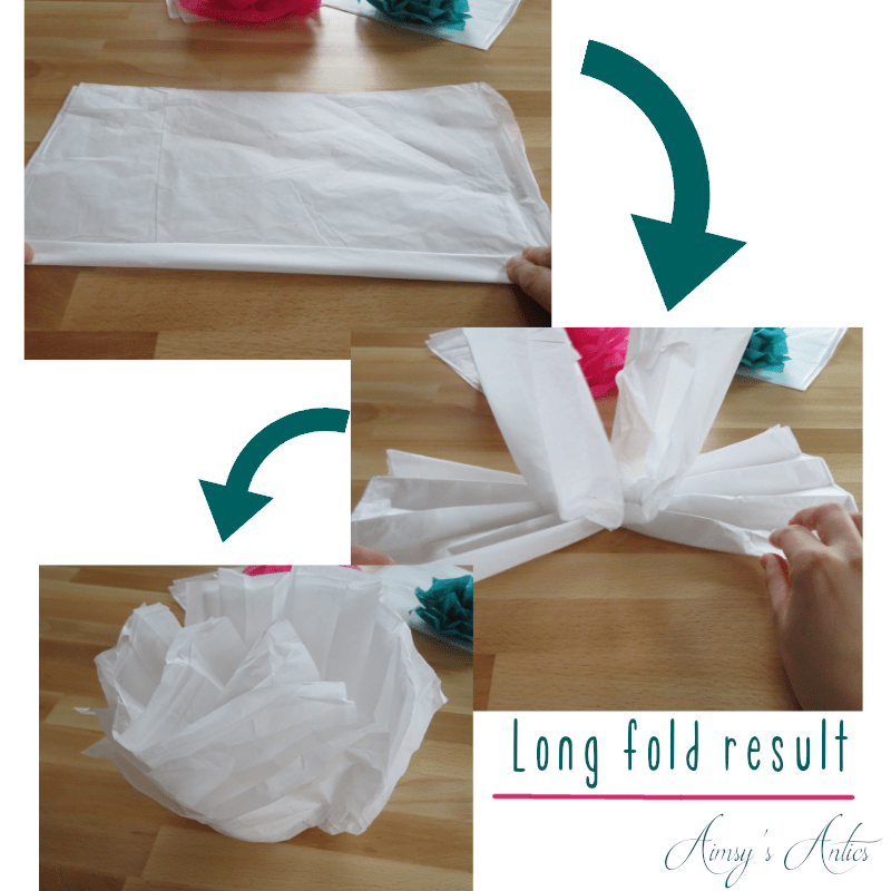Several photos detailing the result of folding the tissue paper length ways for a diy paper flower
