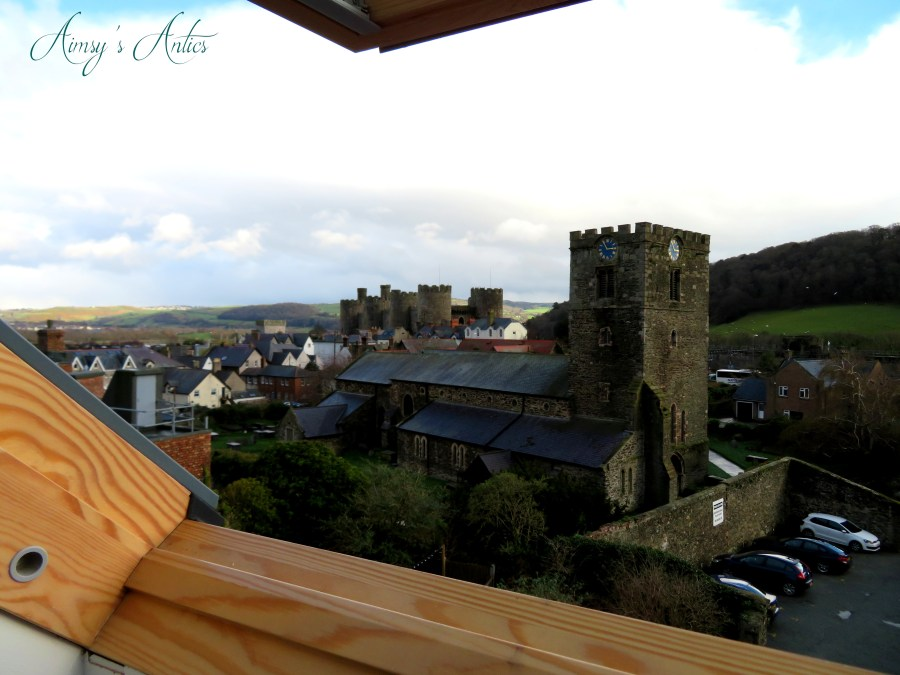 View of conwy castle and curch from a window of the Castle View Townhouse
