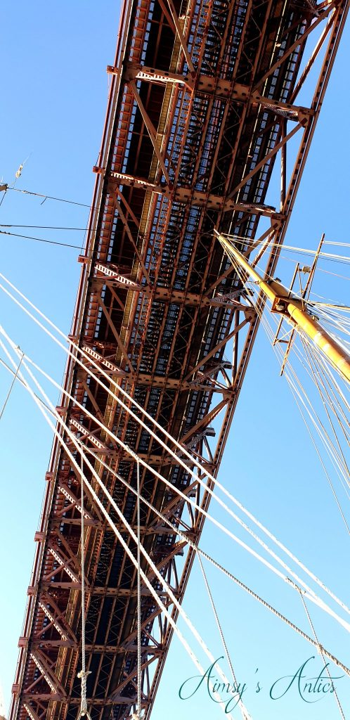 View looking up at the underneath of the 25 de Abril Bridge, Lisbon