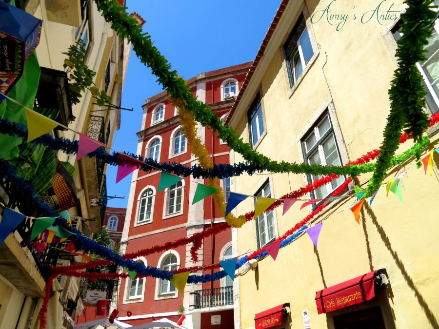 Bright decorations on the streets of Lisbon