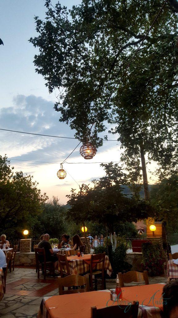 View inside Perivoli taverna, Parga. Lanterns in the air