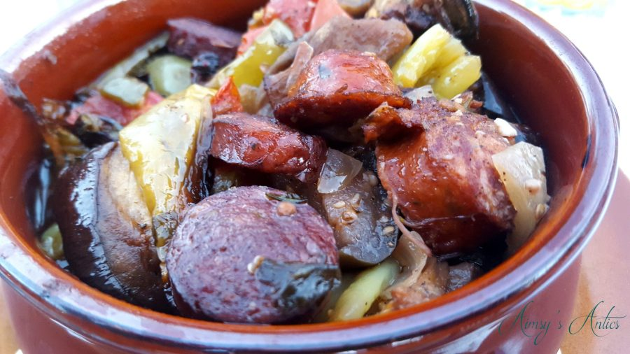 A dish of Greek Spetzofai close up - sausage with vegetables