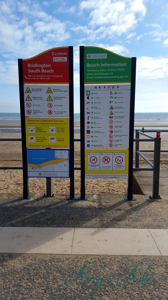 Beach signs on the South Beach of Bridlington