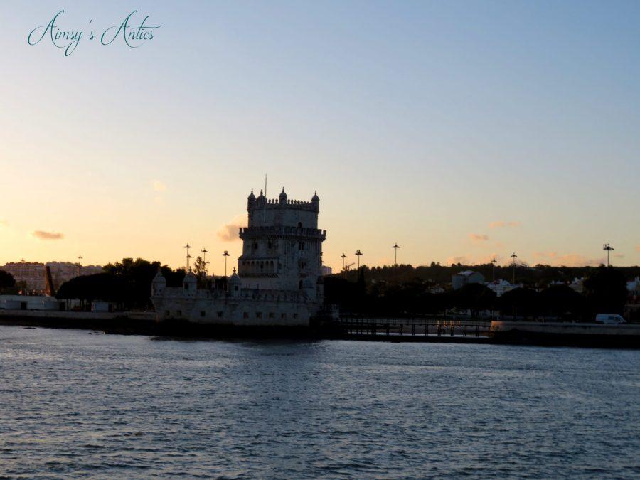Sun setting at Belem Tower