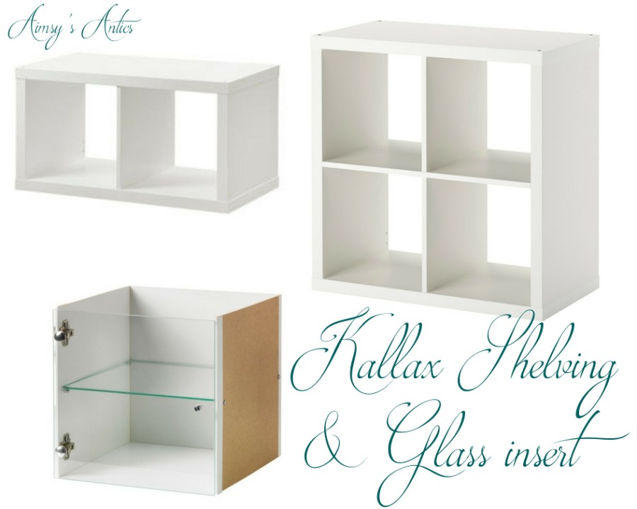 Kallax shelving unit and glass insert - three pictures