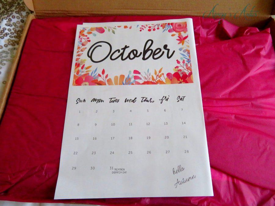 October calendar onto of pink tissue