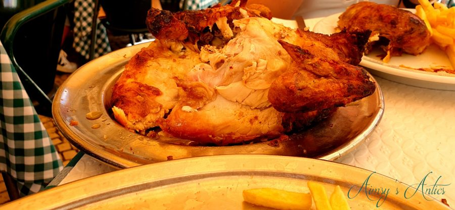 Chicken carved on a platter at Bonjardim, Lisbon