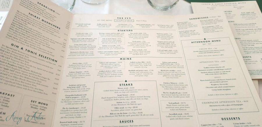 The Ivy's main a la carte menu in Leeds