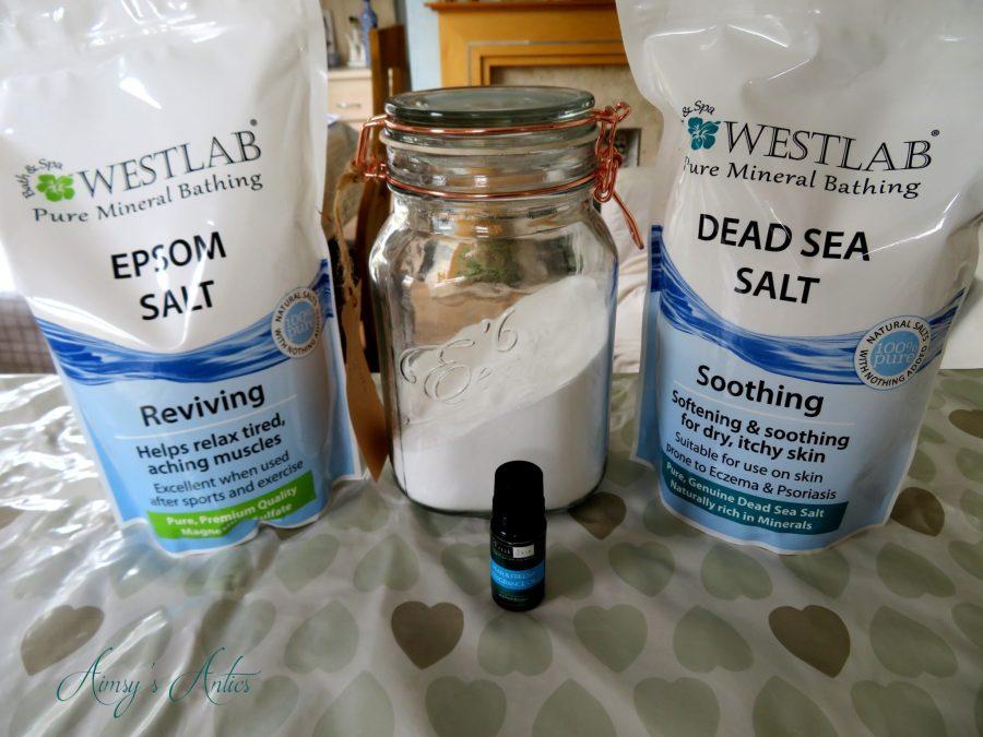 Ingredients for bath salts recipe