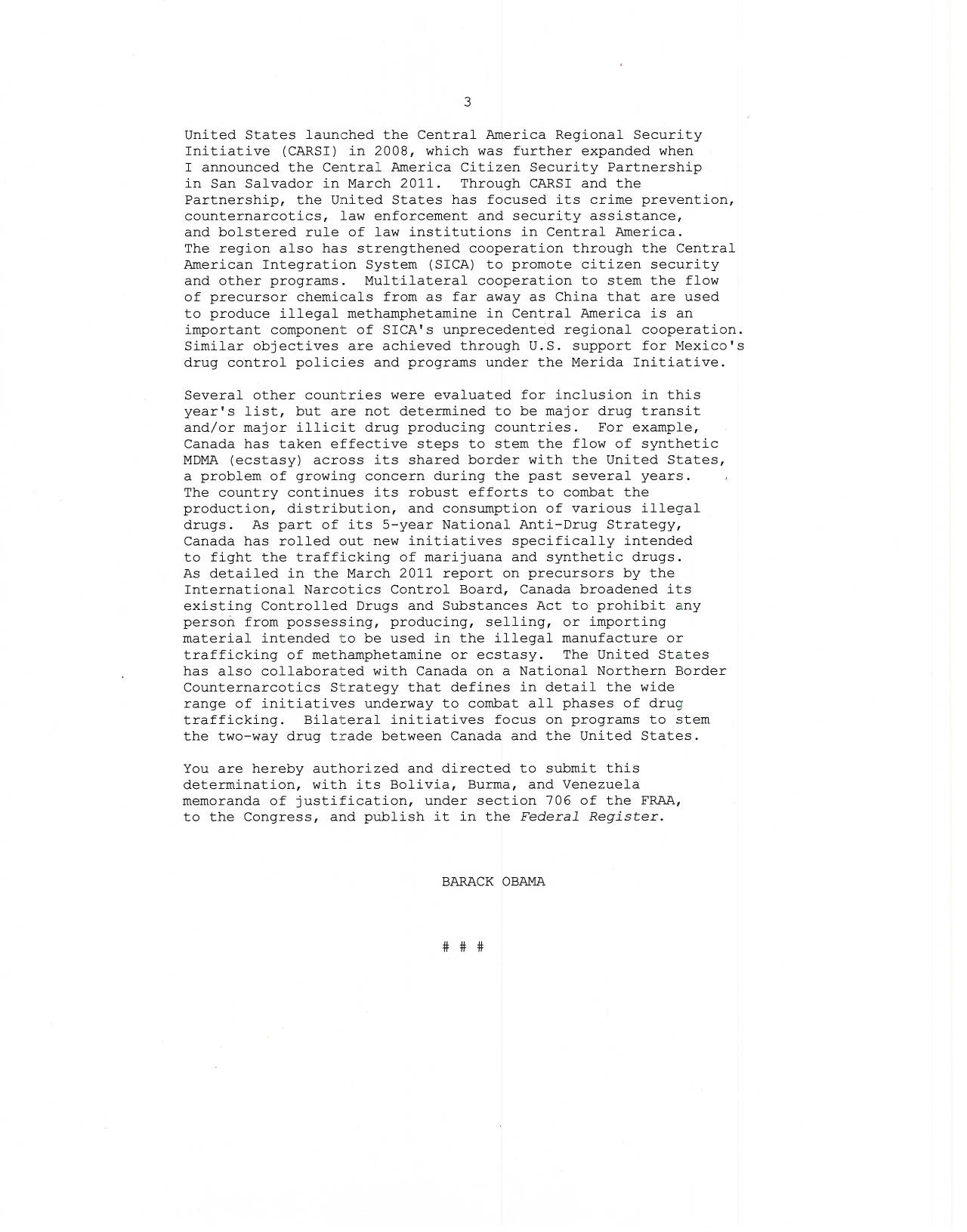 2012 White House Presidential Determination: Memorandum of