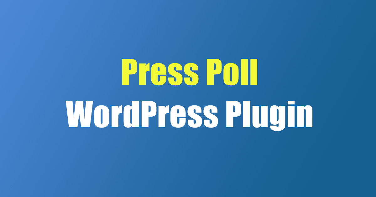 Press Poll WordPress Plugin
